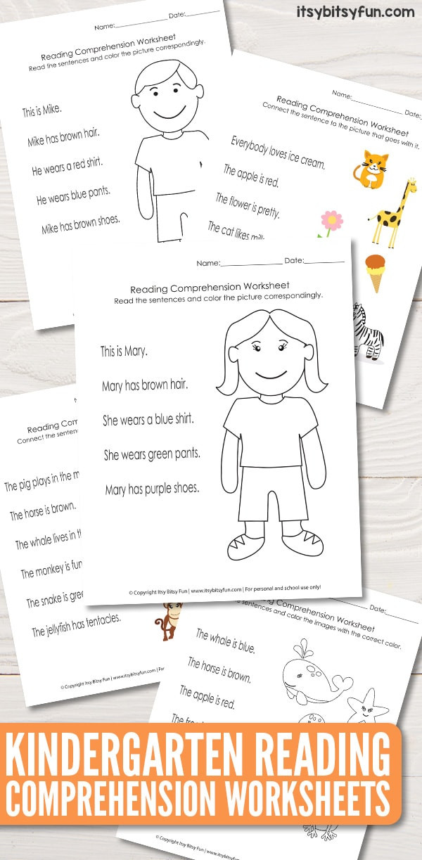 Comprehension Worksheets for Kindergarten Kindergarten Reading Prehension Worksheets Itsy Bitsy Fun