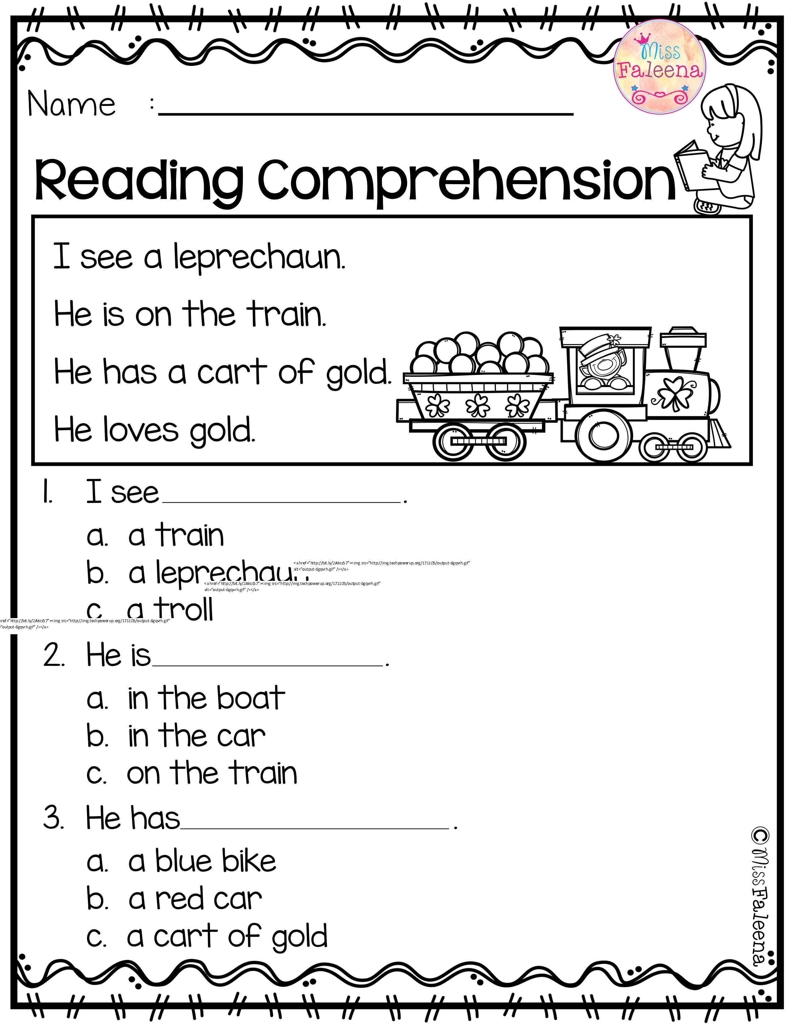Comprehension Worksheets for Kindergarten March Reading Prehension