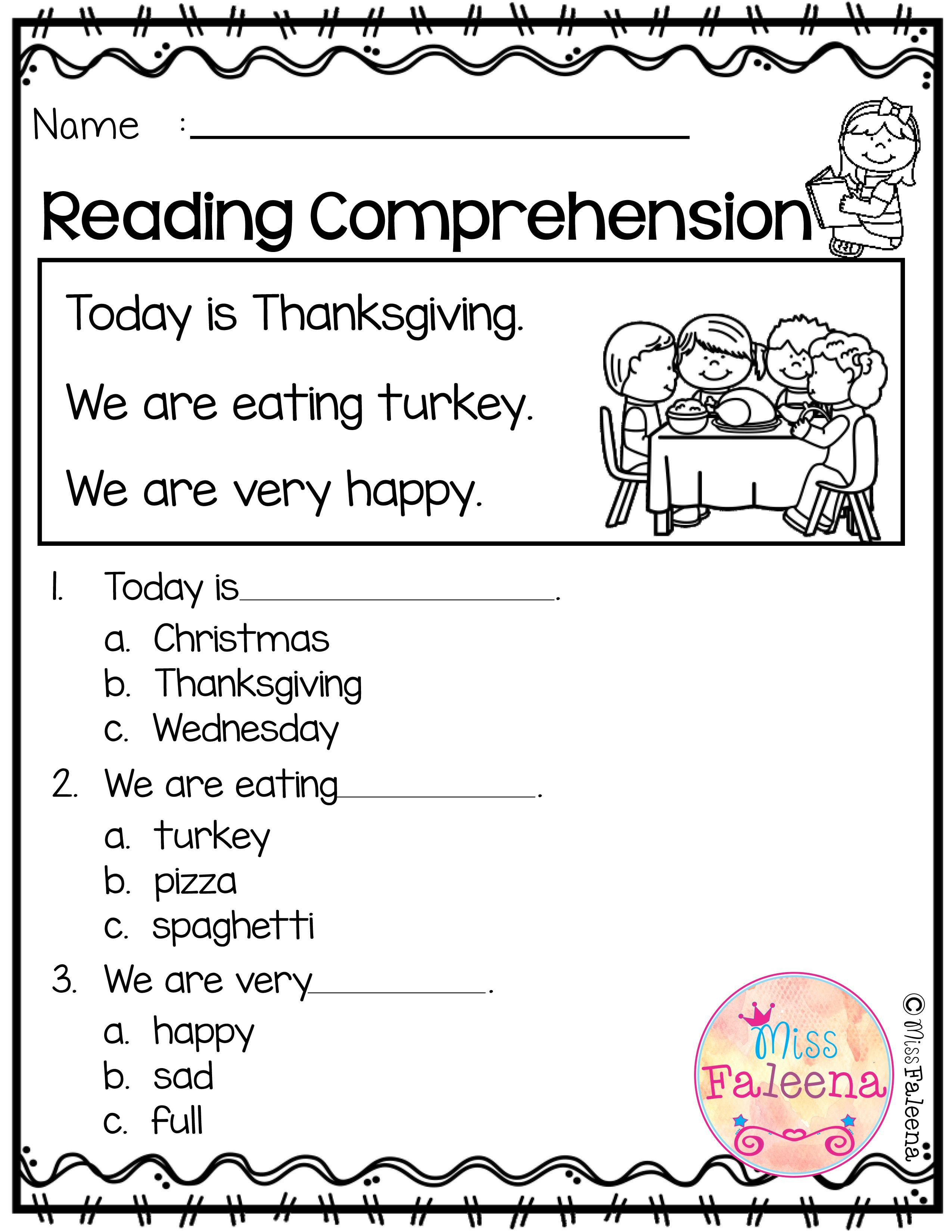 Comprehension Worksheets for Kindergarten November Reading Prehension