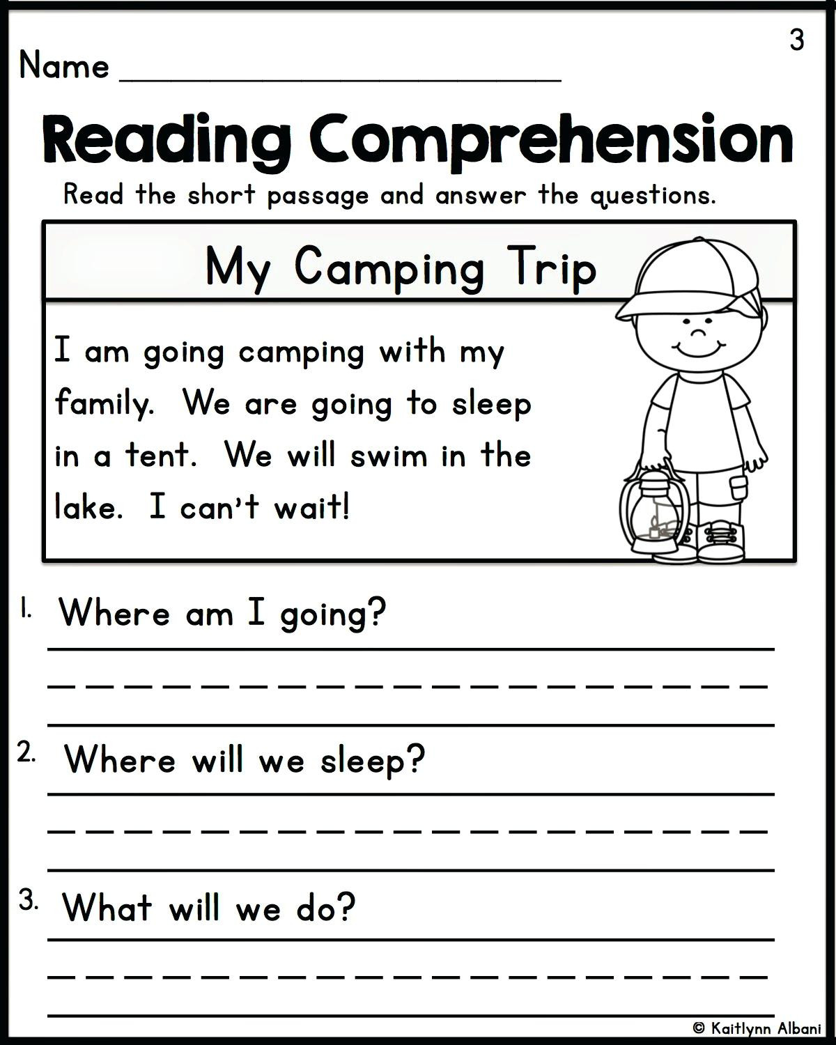 Comprehension Worksheets for Kindergarten Reading Prehension Kindergarten Worksheets Free Free