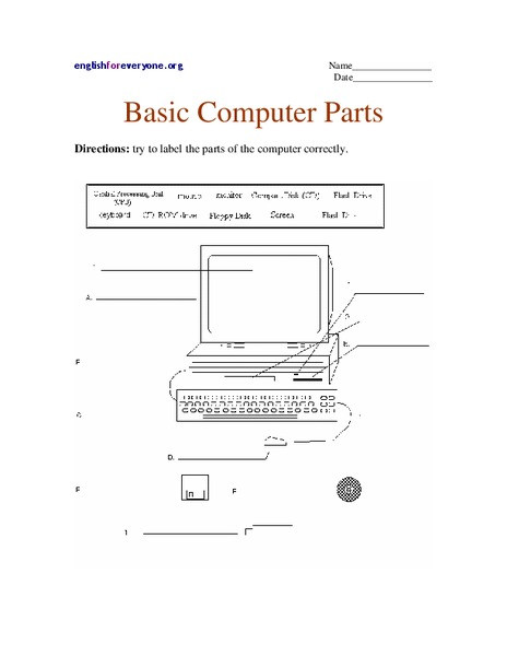 Computer Worksheets for Grade 1 Basic Puter Parts Worksheet for 1st 3rd Grade