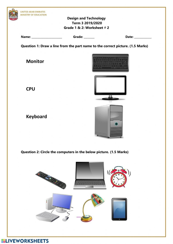 Computer Worksheets for Grade 1 Dt Worksheet2 Interactive Worksheet