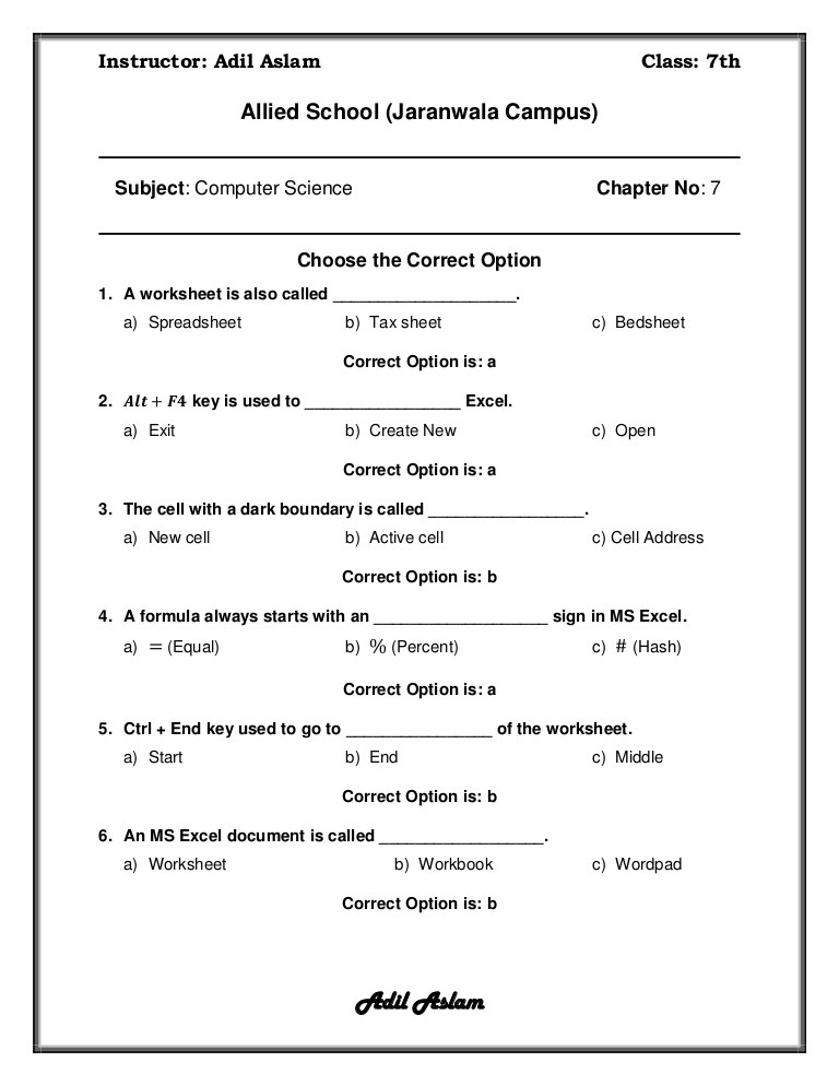 Computer Worksheets for Grade 1 Puter Science Class 7 Chapter 7 solution
