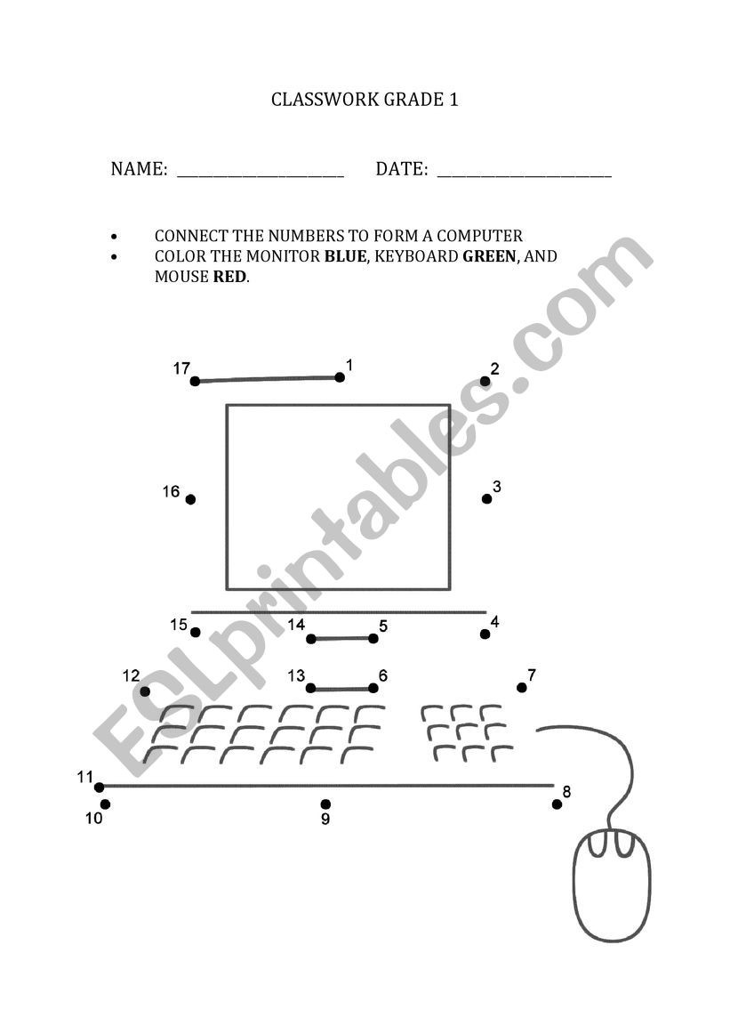 Computer Worksheets for Grade 1 Puter Worksheet Grade 1 Esl Worksheet by Aartivasandani