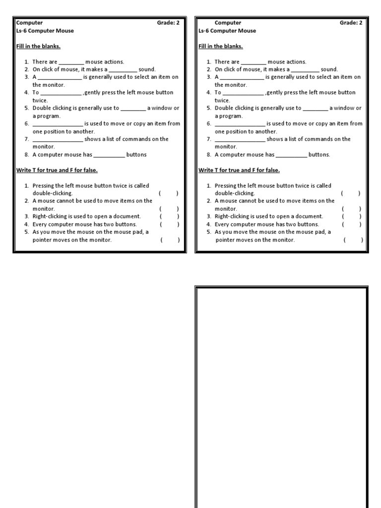 Computer Worksheets for Grade 1 Puter Worksheets Grade 2 Double