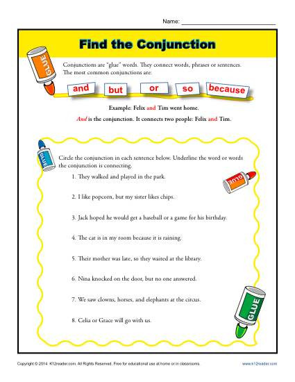 Conjunction Worksheet 3rd Grade Find the Conjunction