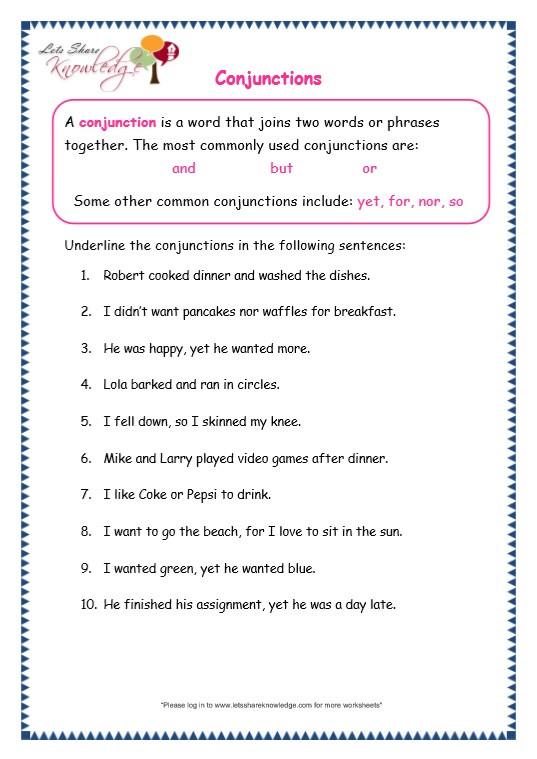 Conjunction Worksheet 3rd Grade Grade 3 Grammar topic 19 Conjunctions Worksheets – Lets