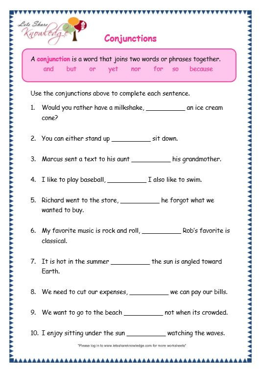 Conjunction Worksheet 3rd Grade Grade 3 Grammar topic 19 Conjunctions Worksheets