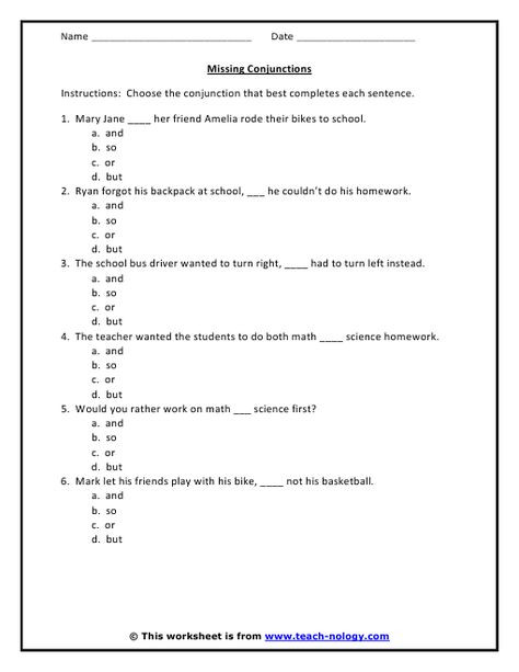 Conjunction Worksheets 6th Grade Conjunction Worksheet 6 Problems with Answer Key