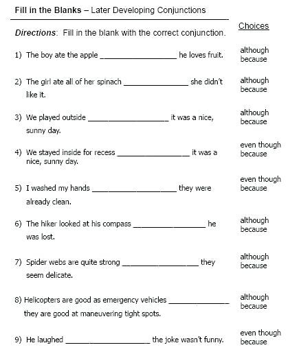 Conjunction Worksheets 6th Grade Conjunction Worksheets for Grade 4 – Girisx