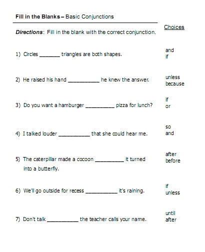 Conjunction Worksheets 6th Grade Conjunctions Fill In the Blanks