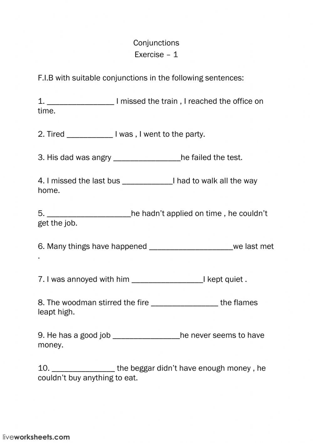 Conjunction Worksheets 6th Grade Conjunctions Interactive Worksheet