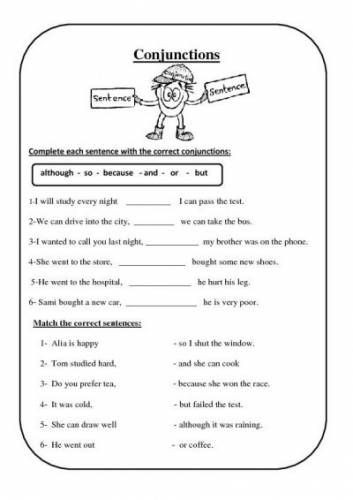 Conjunction Worksheets 6th Grade Free Conjunction Worksheets