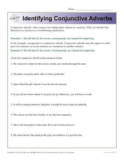 Conjunction Worksheets 6th Grade Identifying Conjunctive Adverbs