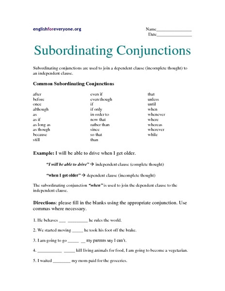 Conjunction Worksheets 6th Grade Subordinating Conjunctions Worksheet for 6th 7th Grade