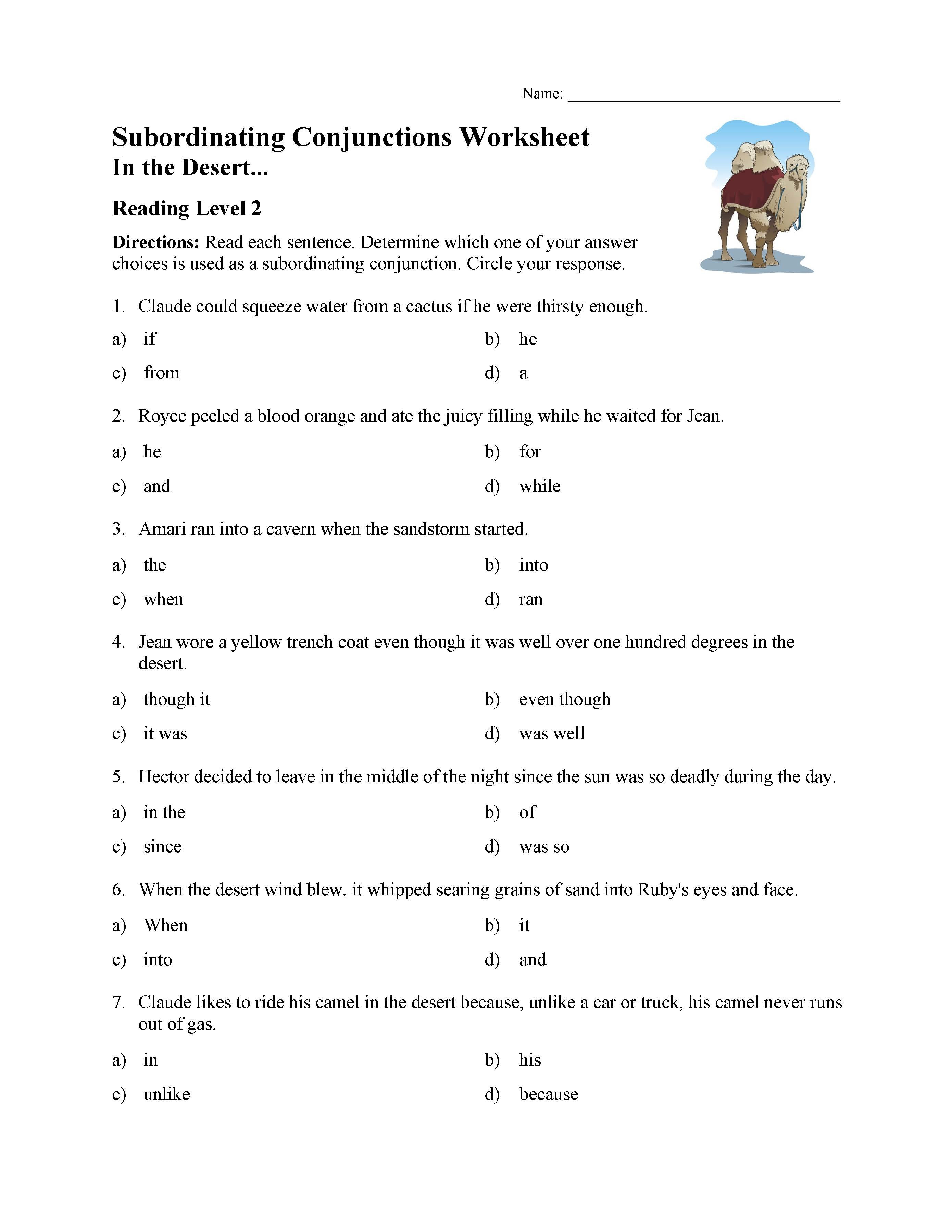 Conjunction Worksheets 6th Grade Subordinating Conjunctions Worksheet Reading Level 2