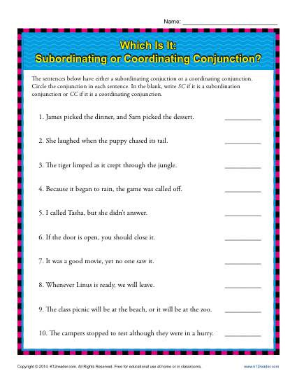 Conjunction Worksheets 6th Grade Subordinating or Coordinating Conjunctions