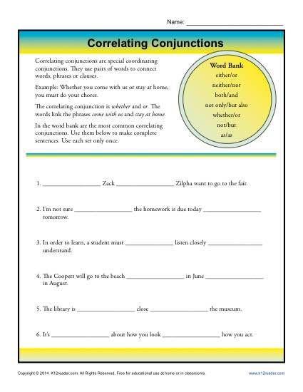 Conjunctions Worksheet 5th Grade Correlative Conjunctions Worksheet