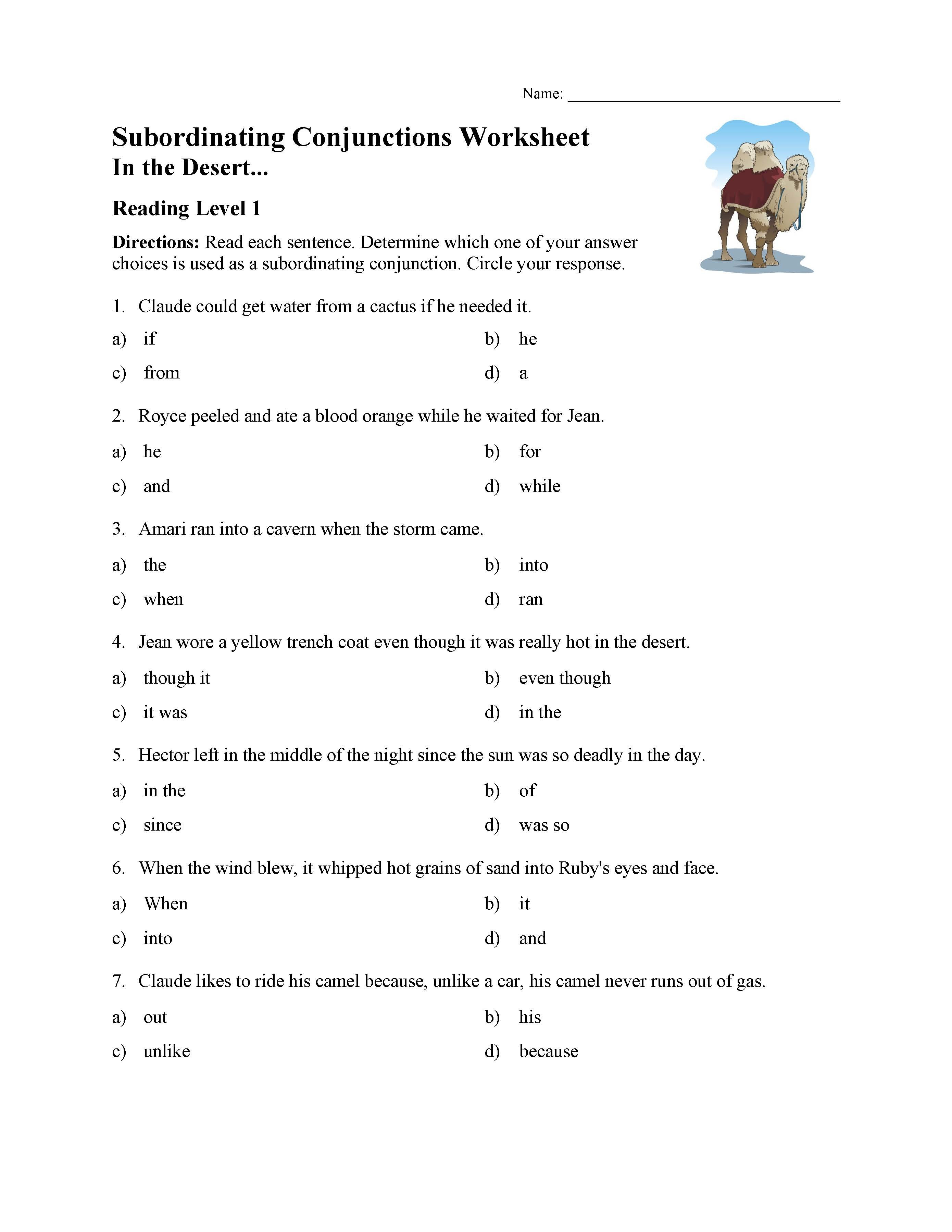 Conjunctions Worksheet 5th Grade Subordinating Conjunctions Worksheet Reading Level 1