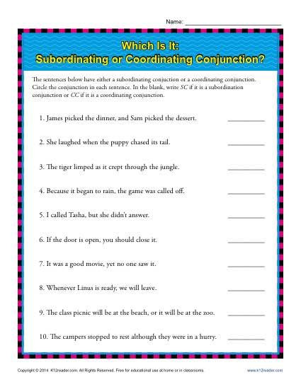 Conjunctions Worksheet 5th Grade Subordinating or Coordinating Conjunctions