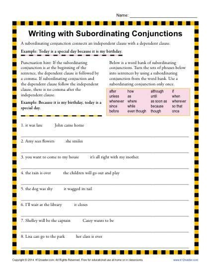 Conjunctions Worksheet 5th Grade Writing with Subordinating Conjunctions