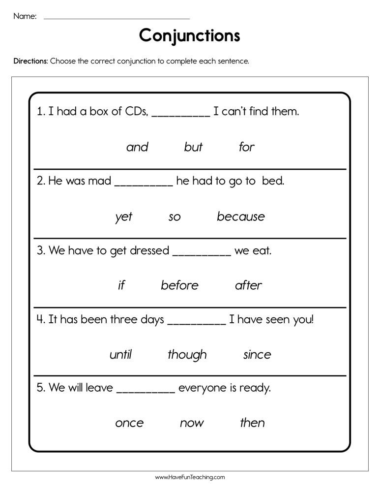 Conjunctions Worksheets 5th Grade Conjunctions Worksheet