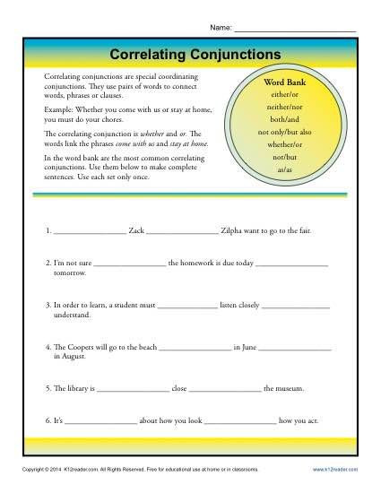 Conjunctions Worksheets 5th Grade Correlative Conjunctions Worksheet