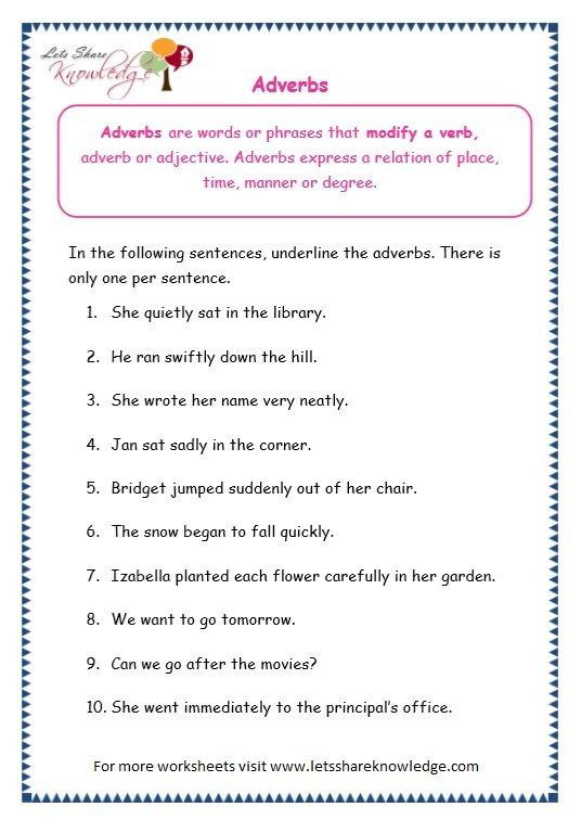 Conjunctions Worksheets for Grade 3 Grade 3 Grammar topic 16 Adverbs Worksheets