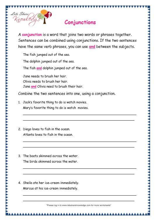 Conjunctions Worksheets for Grade 3 Grade 3 Grammar topic 19 Conjunctions Worksheets