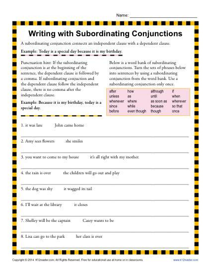 Conjunctions Worksheets for Grade 3 Writing with Subordinating Conjunctions