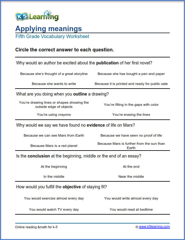 Context Clues 5th Grade Worksheets Grade 5 Vocabulary Worksheets – Printable and organized by
