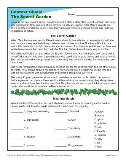 Context Clues 5th Grade Worksheets the Secret Garden