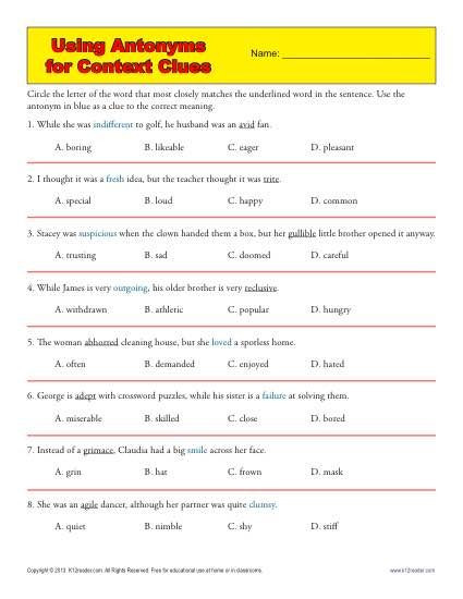 Context Clues 5th Grade Worksheets Using Antonyms for Context Clues
