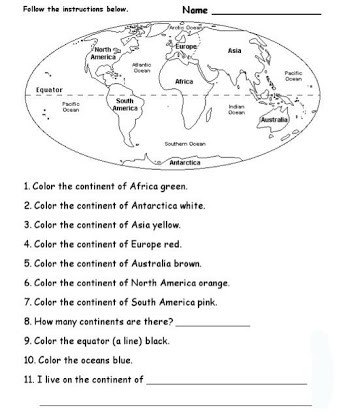 Continents and Oceans Printable Worksheets Continents and Oceans Free Printables