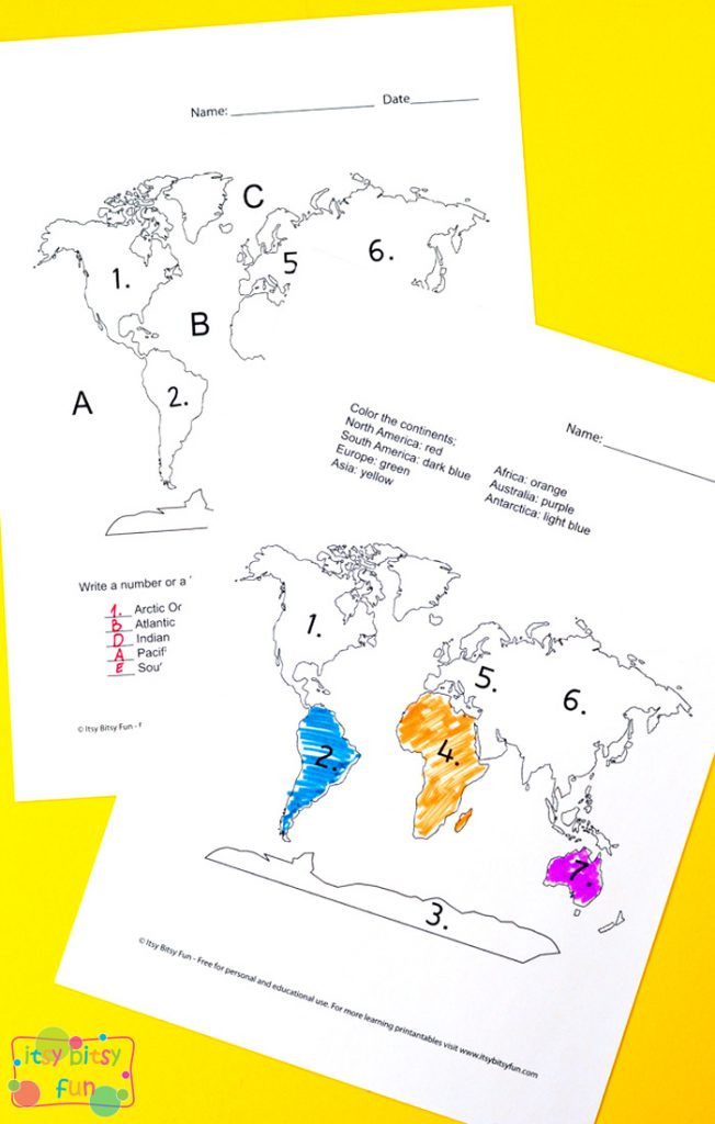 Continents and Oceans Worksheet Printable Continents and Oceans Worksheets Free Word Search Quiz