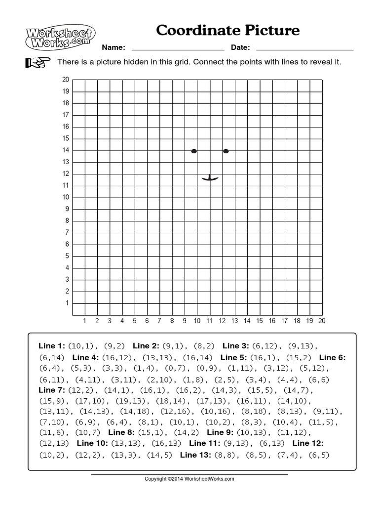 Coordinate Plane Worksheet 5th Grade Coordinate Picture Worksheets Works