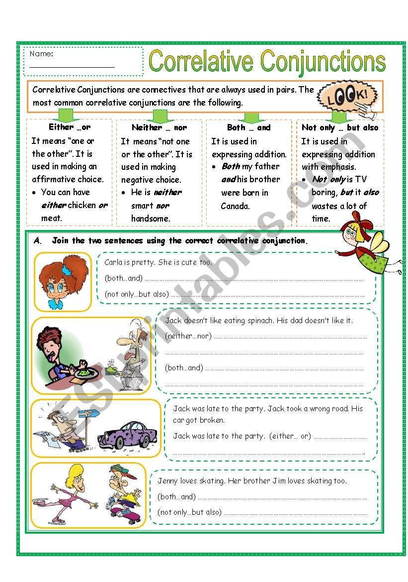 Correlative Conjunctions Worksheet 5th Grade Correlative Conjunctions Part 2 Esl Worksheet by Missola