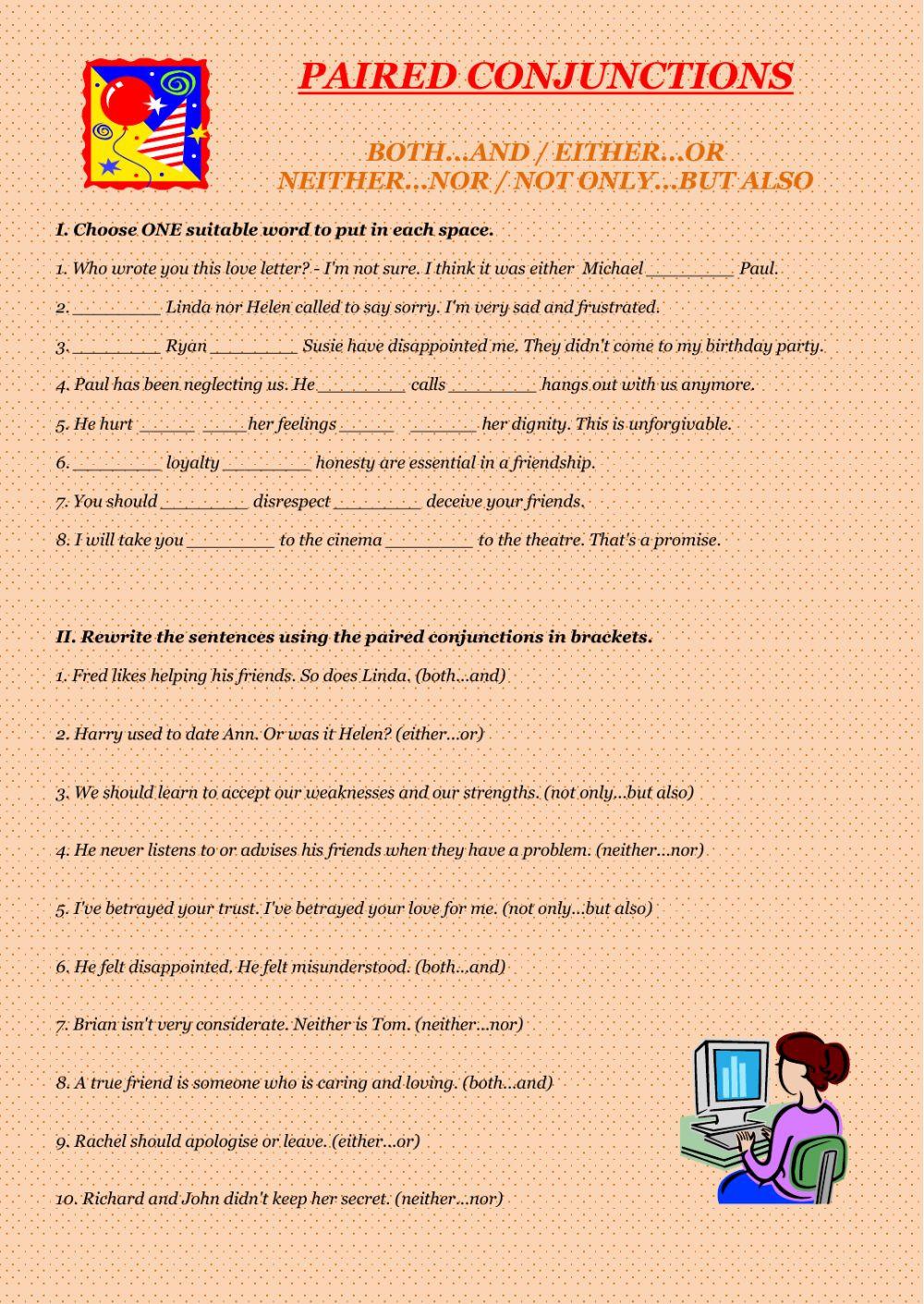 Correlative Conjunctions Worksheet 5th Grade Paired Conjunctions Conjunctions Worksheet