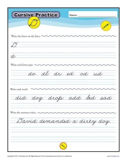 Cursive Sentences Worksheets Printable Cursive D Letter D Worksheets for Handwriting Practice