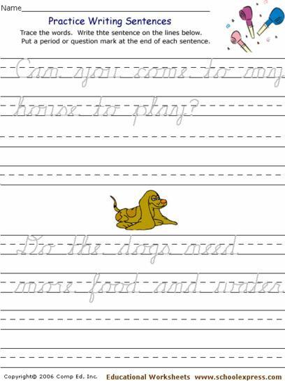 Cursive Sentences Worksheets Printable Free Printable Cursive Handwriting Sentence Worksheets لم