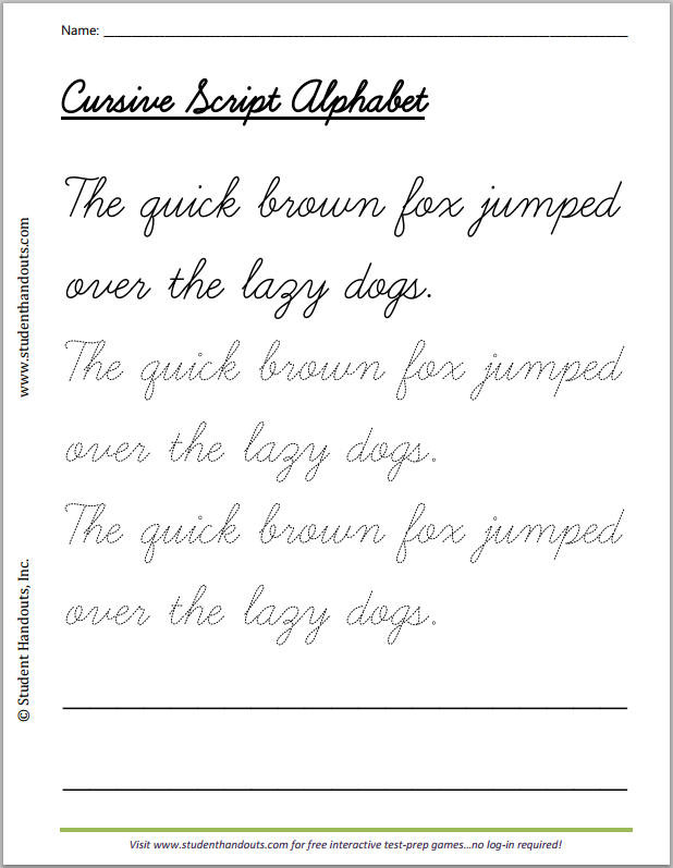 Cursive Sentences Worksheets Printable Quick Brown Fox Cursive Writing Practice Worksheet