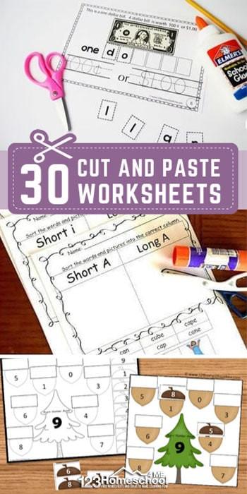 Cut and Paste Worksheets Kindergarten 30 Free Cut and Paste Worksheets