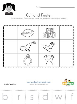 Cut and Paste Worksheets Kindergarten Beginning sounds Cut and Paste Worksheet 2