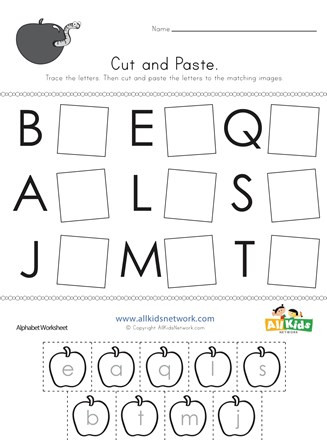 Cut and Paste Worksheets Kindergarten Cut and Paste Letter Matching Worksheet