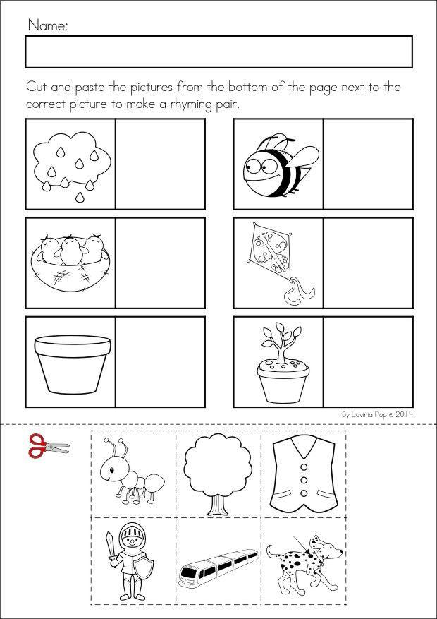 Cut and Paste Worksheets Kindergarten Kindergarten Rhyming Worksheets Cut and Paste & Cut and
