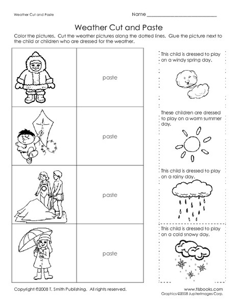 Cut and Paste Worksheets Kindergarten Weather Cut and Paste Worksheet for Kindergarten 1st Grade