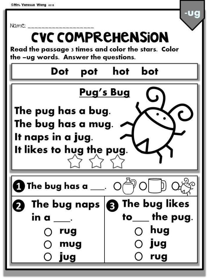 Cvc Worksheet Kindergarten Phonics Worksheets Cvc Prehension Readers Kindergarten