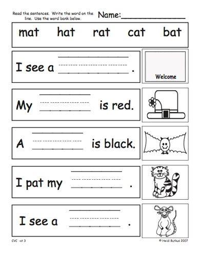 Cvc Worksheets Kindergarten Free Kindergarten Cvc Worksheets