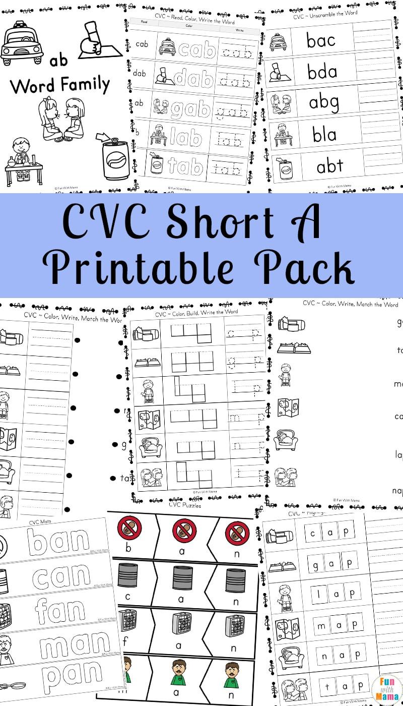 Cvc Worksheets Kindergarten Free Short A Worksheets Cvc Words