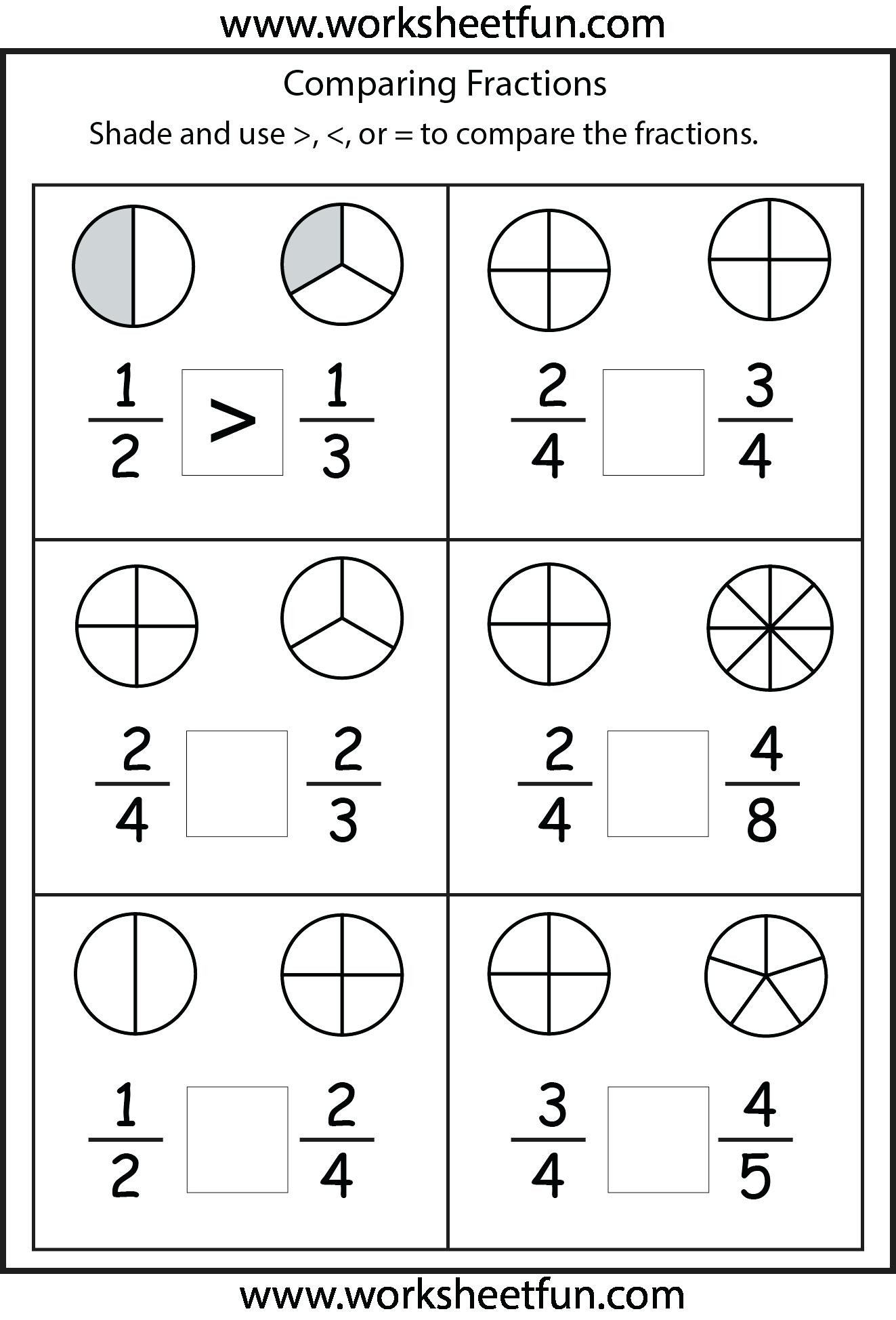 Decomposing Fractions Worksheets 4th Grade First Grade Fractions Worksheets Fraction Worksheets for